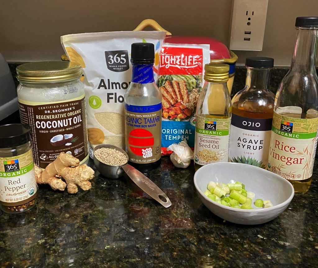 ingredients needed for seared sesame tempeh
