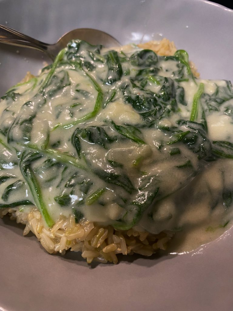 vegan creamed spinach over brown rice