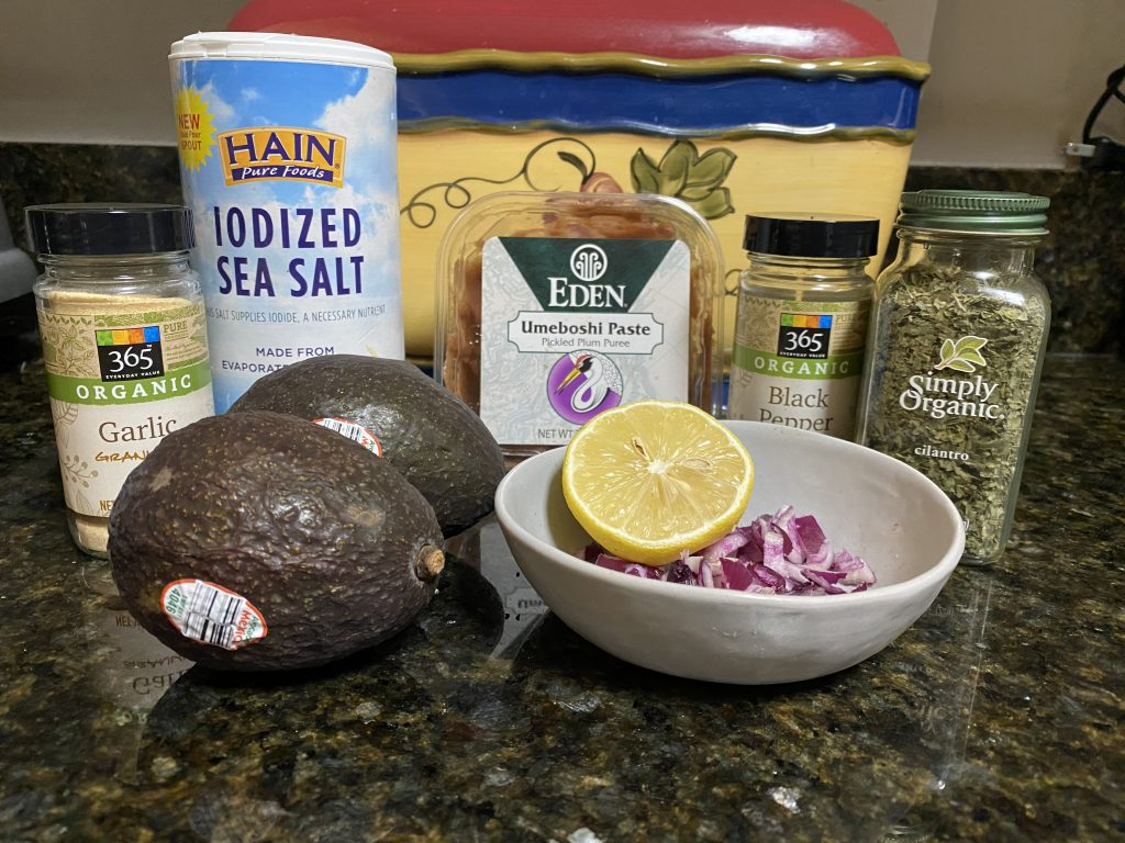 Savory guacamole ingredients