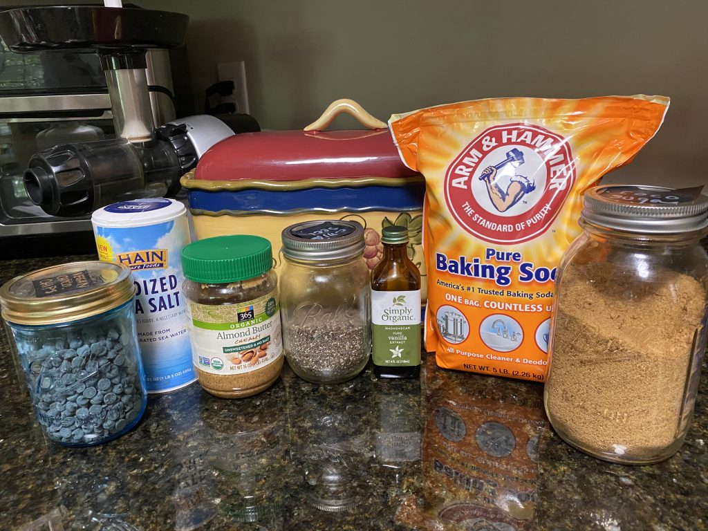 Ingredients needed for chocolate chip blondies