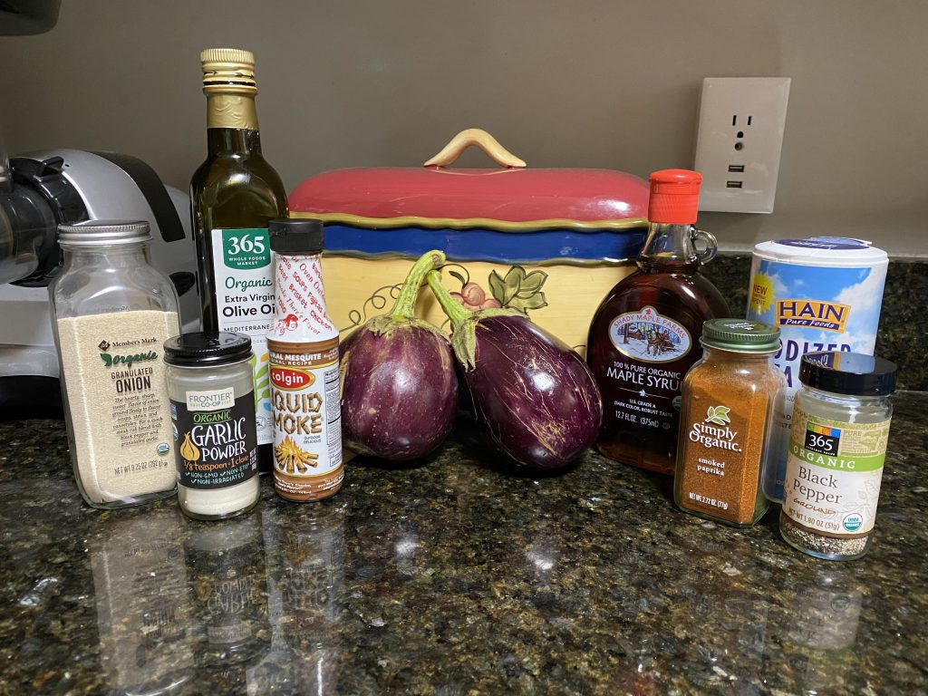 ingredients for eggplant bacon