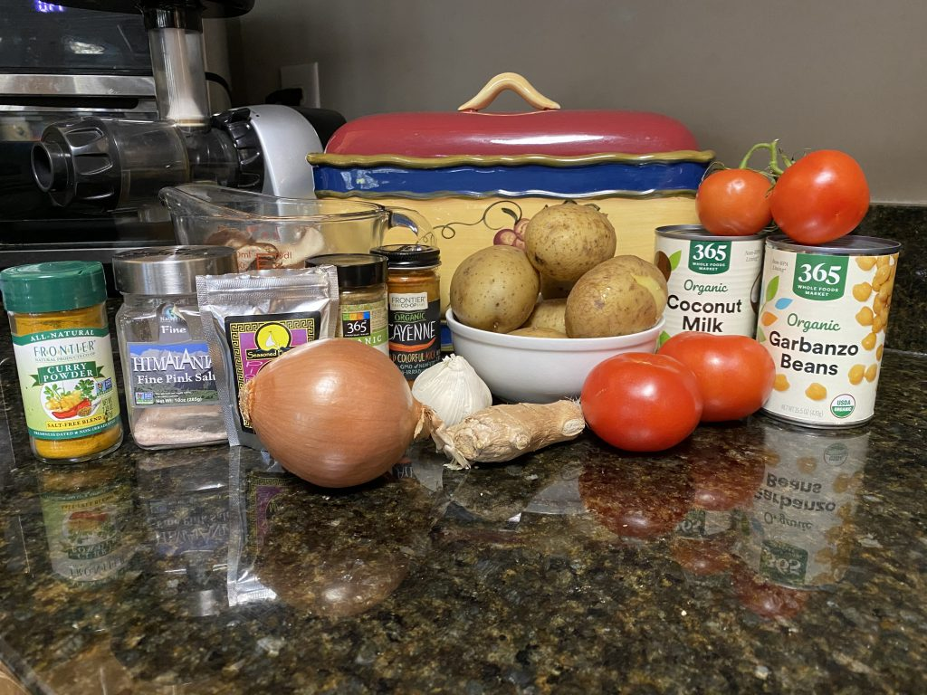 Ingredients needed for spicy vegetable curry