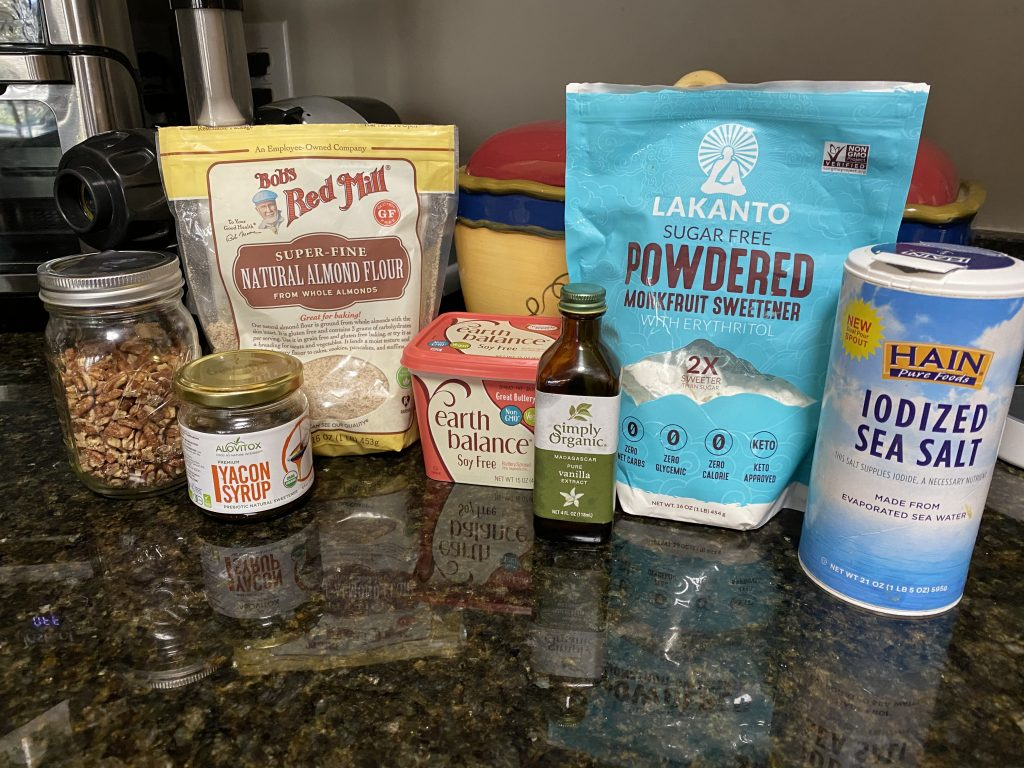 Ingredients for almond crescent cookies