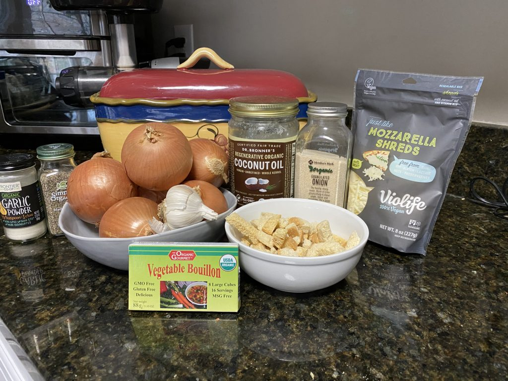 Ingredients needed for French onion soup