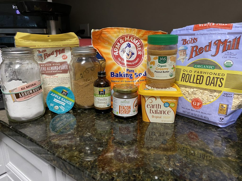 Ingredients needed for peanut butter chocolate chip cookies