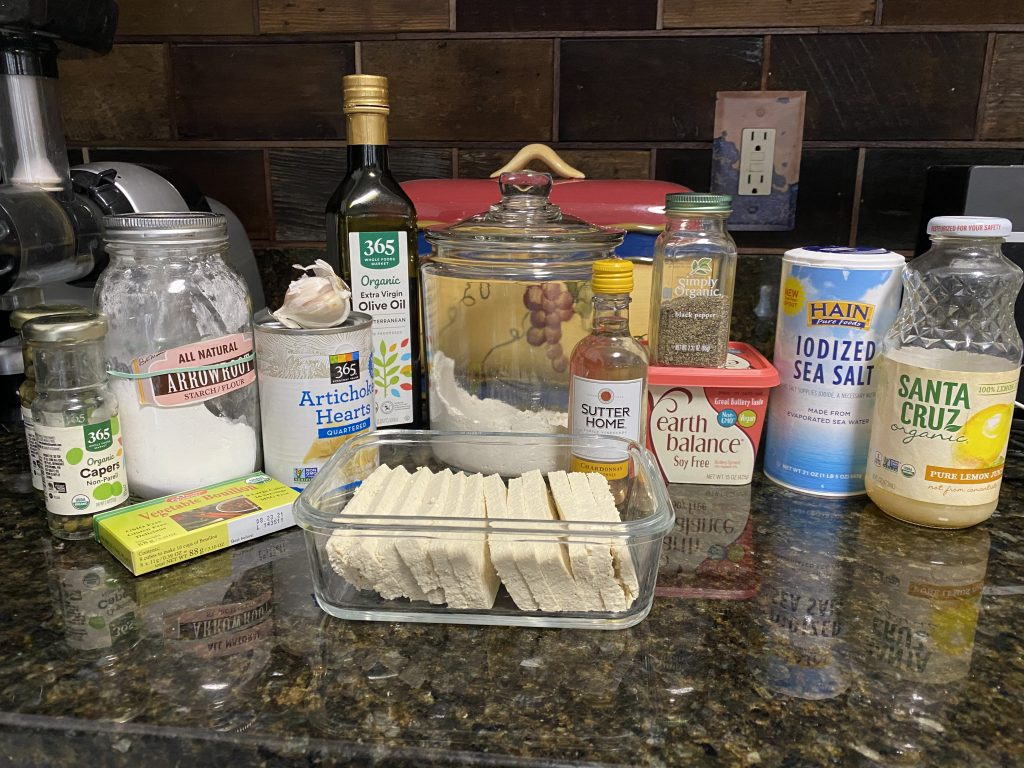 Ingredients needed for tofu piccata
