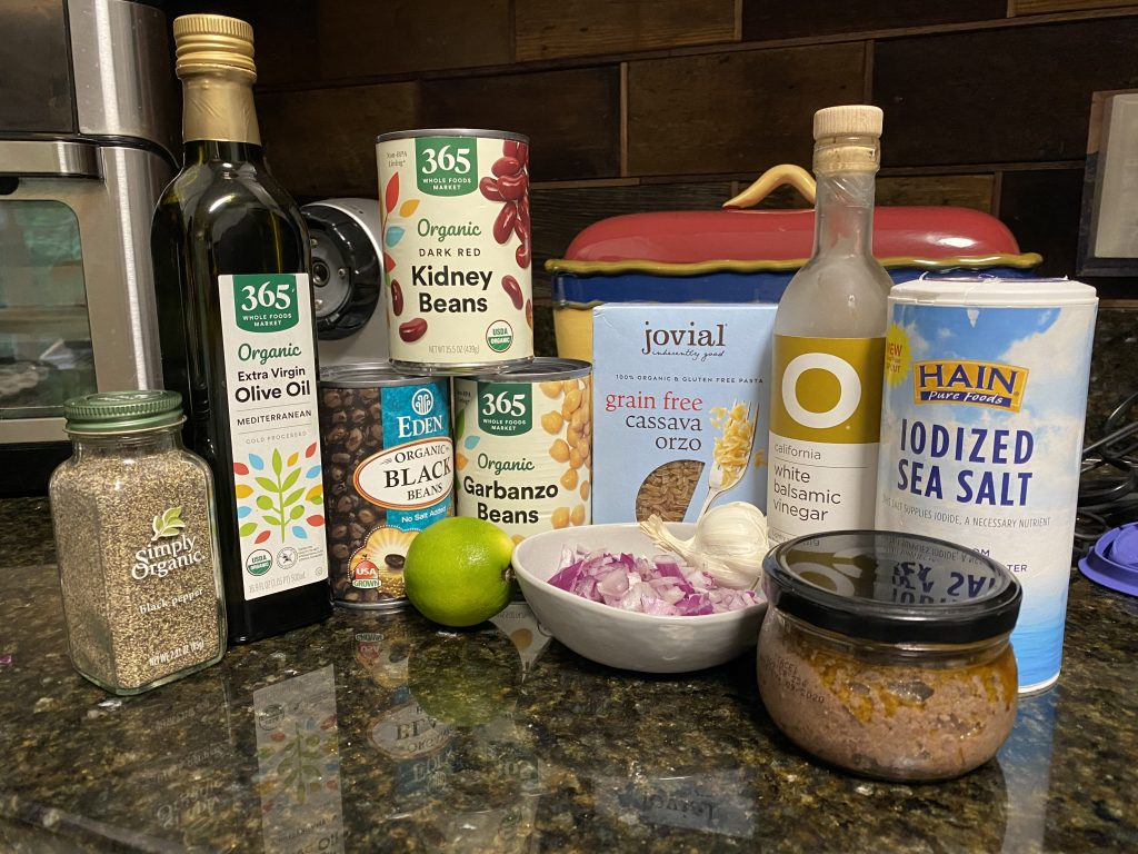 Ingredients needed for three bean salad with gluten-free orzo